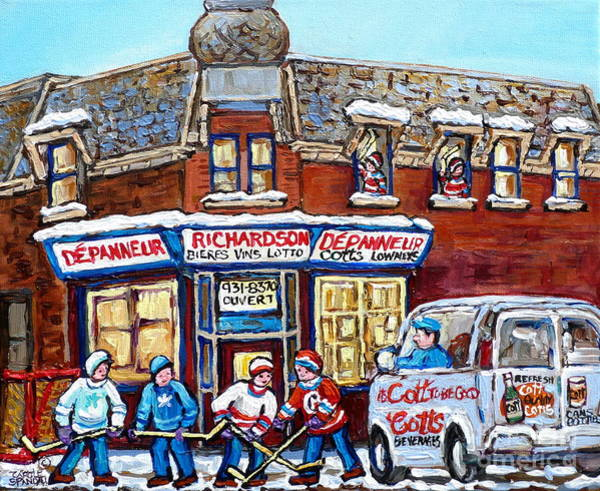 Painting - Pointe St Charles Paintings Hockey Game At Richardson Depanneur With Vintage Cott's Truck Montreal  by Carole Spandau