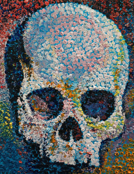 Oil Pastel Painting - Pointillism Skull by Michael Creese