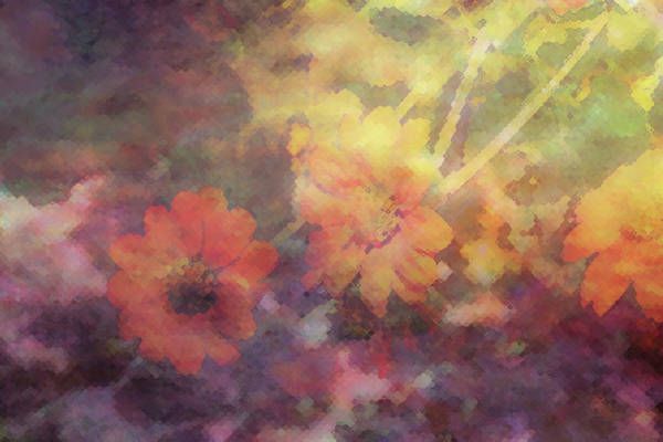Photograph - Pointillism Zinnia Impression 1923 Idp_3 by Steven Ward