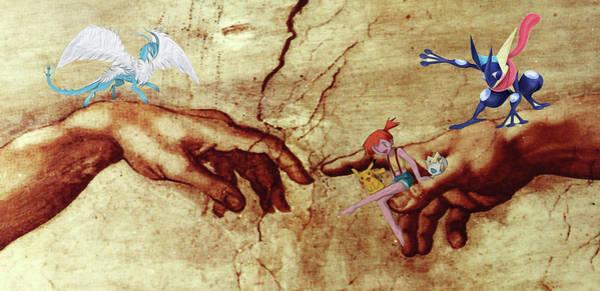 Pokemon Wall Art - Digital Art - Pokeangelo Sistine Chapel by Greg Sharpe