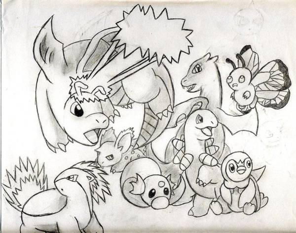 Pokemon Drawing - Pokemon Scramble by Jessie Gay
