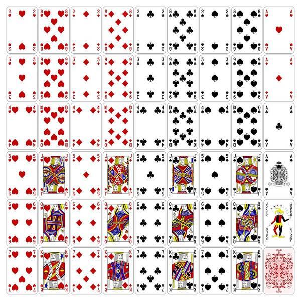 Deck Digital Art - Poker Cards Full Set Four Color Classic Design by Miroslav Nemecek