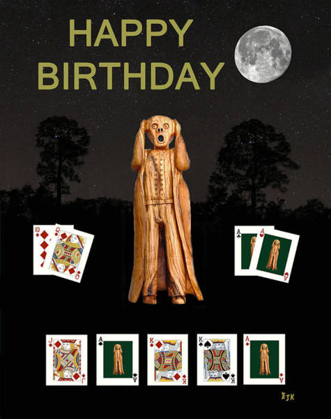 Macau Mixed Media - Poker Happy Birthday Scream by Eric Kempson