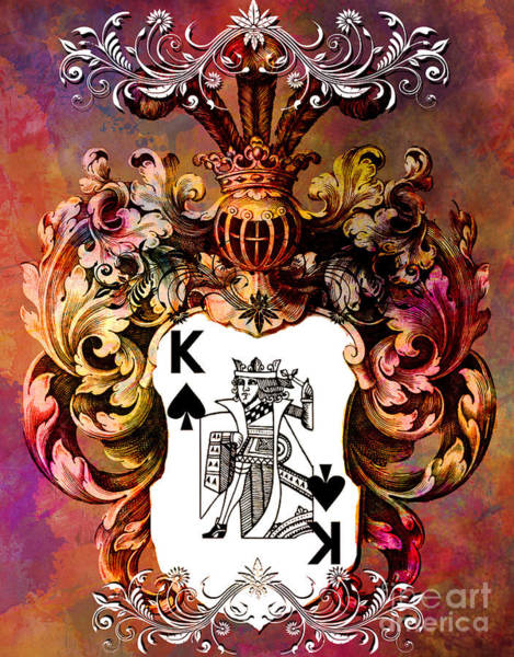 Deck Of Cards Digital Art - Poker King Spades Colored by Justyna JBJart