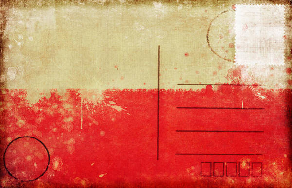 Aging Photograph - Poland Flag Postcard by Setsiri Silapasuwanchai