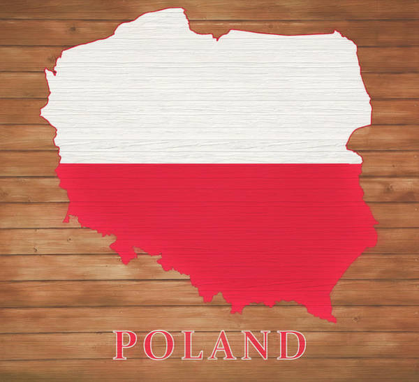 European Vacation Mixed Media - Poland Rustic Map On Wood by Dan Sproul