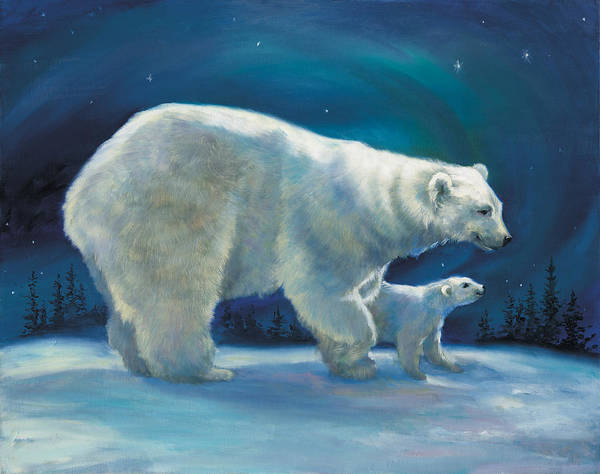 Wall Art - Painting - Polar Bear And Cub by Laurie Snow Hein