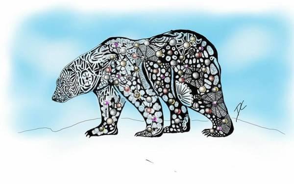 Digital Art - Polar Bear Doodle by Darren Cannell