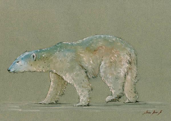 Wall Art - Painting - Polar Bear Original Watercolor Painting Art by Juan  Bosco