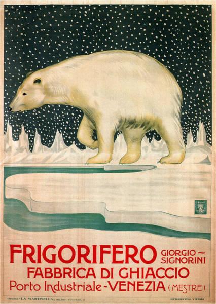 Kunst Painting - Polar Bear Walking On Ice - Vintage Travel Poster by Studio Grafiikka