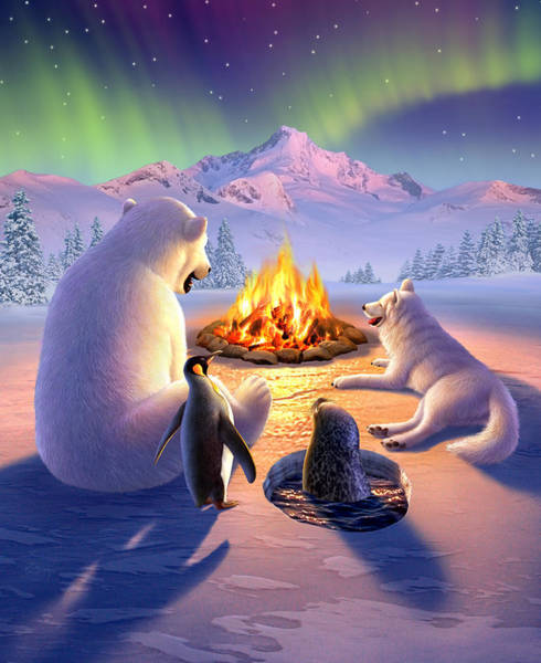 Warm Digital Art - Polar Pals by Jerry LoFaro