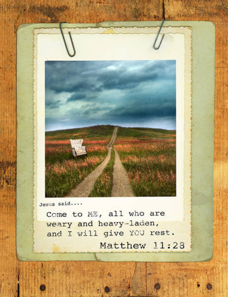 Weary Photograph - Polaroid On Weathered Wood With Bible Verse by Jill Battaglia