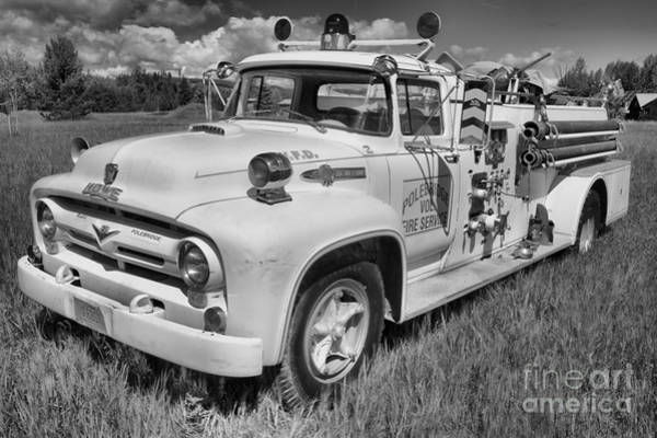 Photograph - Polebridge Fire Truck Black And White by Adam Jewell
