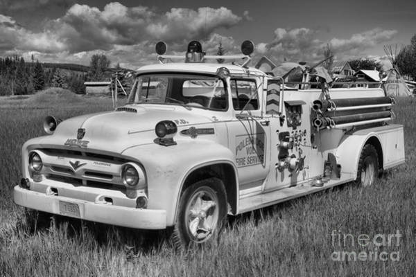 Photograph - Polebridge Montana Black And White Fire Truck by Adam Jewell
