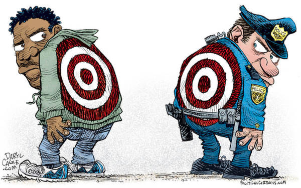 Drawing - Police And Black Folks Are Targets by Daryl Cagle