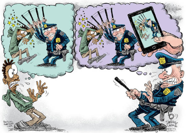 Drawing - Police Beatings And Phone Videos by Daryl Cagle