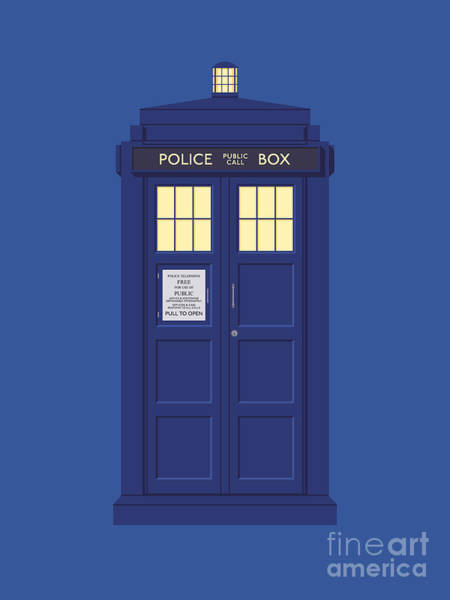 Wall Art - Digital Art - Police Box Phone Booth - Blue by Ivan Krpan
