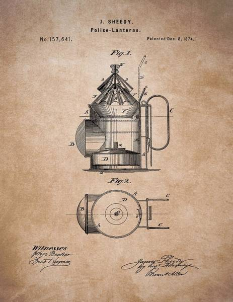 Drawing - Police Lantern Patent by Dan Sproul