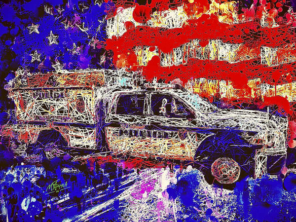 Mixed Media - Police Truck by Al Matra