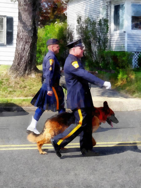 Photograph - Policeman And Dog In Parade by Susan Savad