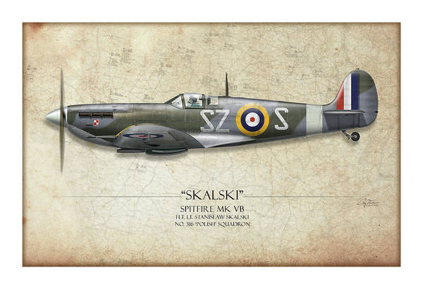 World War 1 Digital Art - Polish Spitfire Mk V - Map Background by Craig Tinder