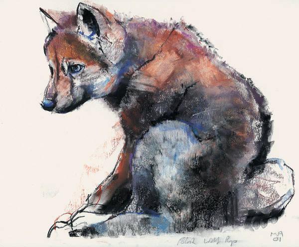 Wolf Painting - Polish Wolf Pup by Mark Adlington