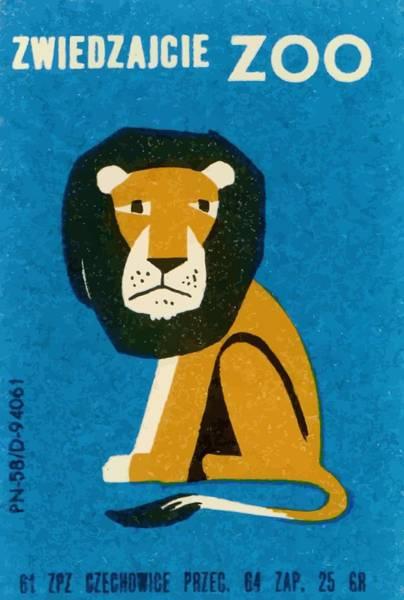 Matchbox Wall Art - Digital Art -  Polish Zoo Lion Matchbox Label by Retro Graphics
