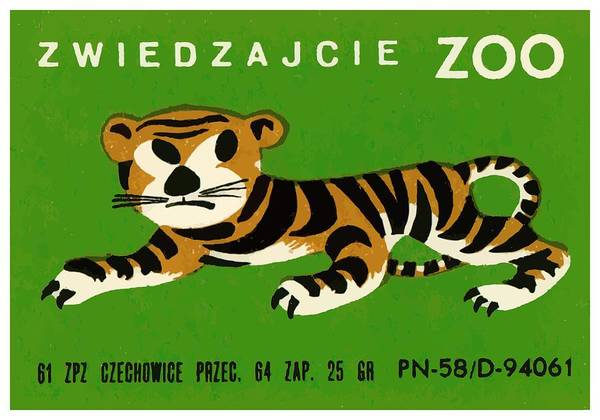 Matchbox Wall Art - Digital Art - Polish Zoo Tiger Matchbox Label by Retro Graphics