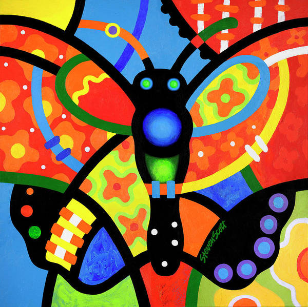 Wall Art - Painting - Kaleidoscope Butterfly by Steven Scott