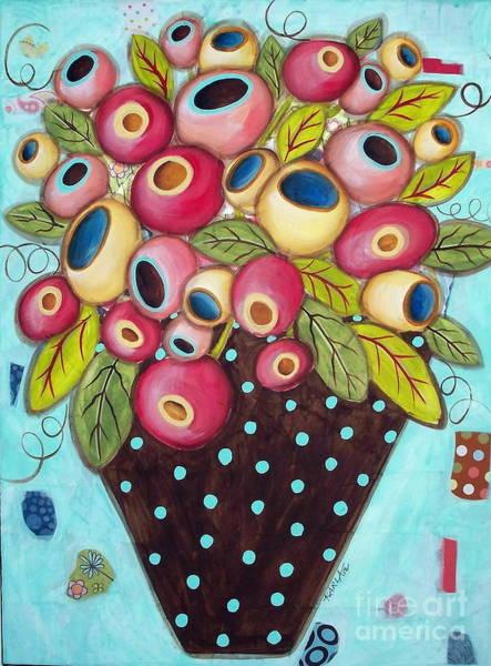 Abstract Flower Mixed Media - Polka Dot Pot by Karla Gerard