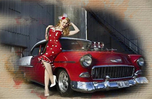 1955 Chevy Digital Art - Bel-air Polka Dots by Gary Baird