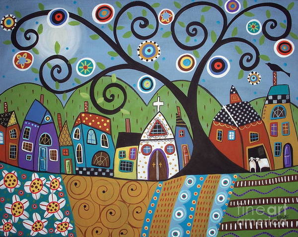Blooming Tree Painting - Polkadot Church by Karla Gerard