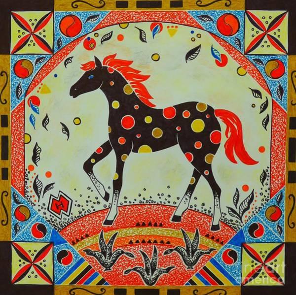 Semi Abstract Drawing - Polkadot Horse by Heather McFarlane-Watson