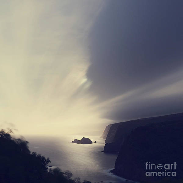 Photograph - Pololu Valley Moonrise - Hipster Photo Square by Charmian Vistaunet