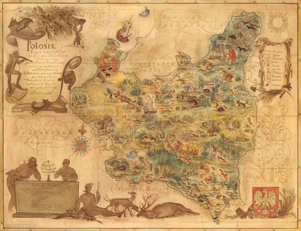 Illustrated Drawing - Poloniae - Antique Map Of Poland - Pictorial Map - Historic Map - Flora And Fauna Of Poland by Studio Grafiikka
