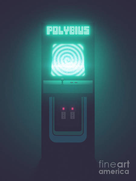 Legend Digital Art - Polybius Arcade Game Machine Cabinet - Front Black by Ivan Krpan