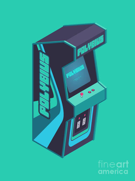 Legend Digital Art - Polybius Arcade Game Machine Cabinet - Isometric Green by Ivan Krpan
