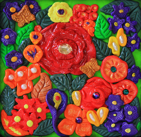 Polymer Clay Photograph - Polymer Clay Flowers Wall Art by Donna Haggerty