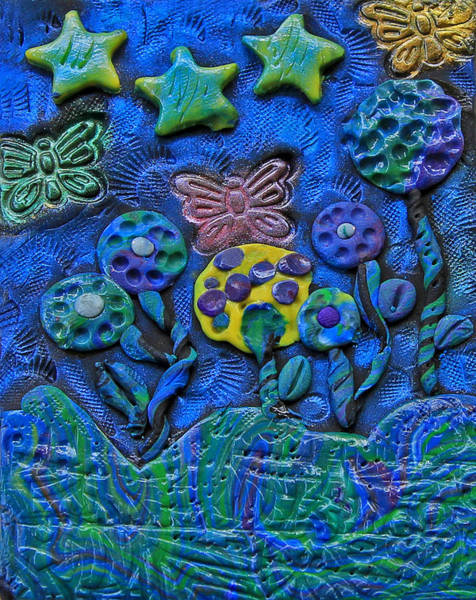Polymer Clay Photograph - Polymer Clay Whimiscal Flowers Stars And Butterflies by Donna Haggerty