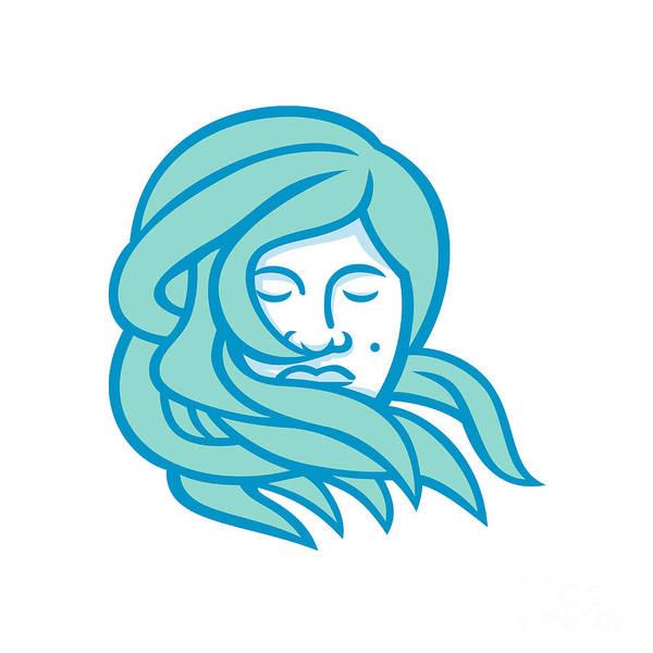 Wall Art - Digital Art - Polynesian Woman Flowing Hair Mascot by Aloysius Patrimonio