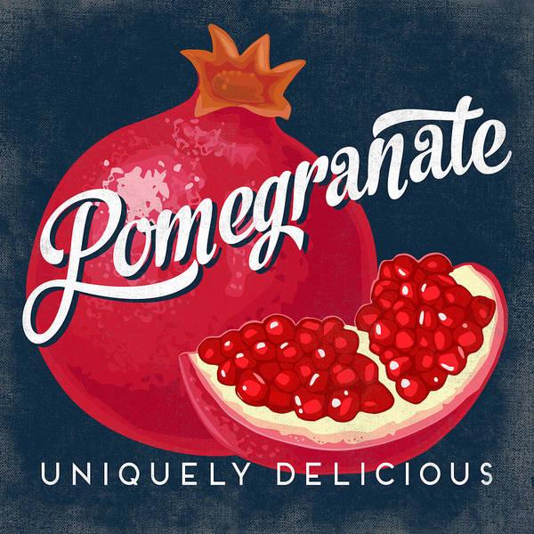 Advertisement Digital Art - Pomegranate Vintage Fruit Label by Flo Karp
