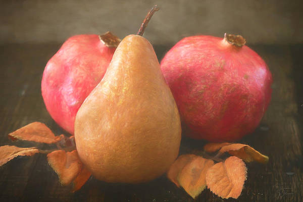 Mixed Media - Pomegranates And A Pear by Teresa Wilson