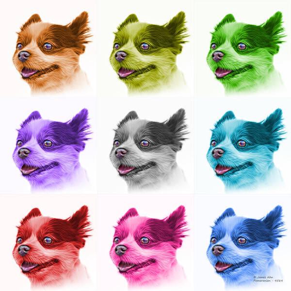 Painting - Pomeranian Dog Art 4584 - Wb - M by James Ahn