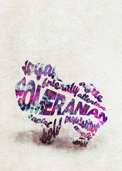 Pomeranian Painting - Pomeranian Dog Watercolor Painting / Typographic Art by Inspirowl Design