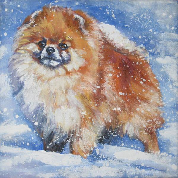 Pomeranian Painting - pomeranian in the Snow by Lee Ann Shepard