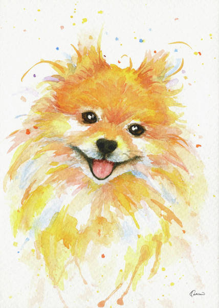 Wall Art - Painting - Happy Pomeranian by Kathleen Wong