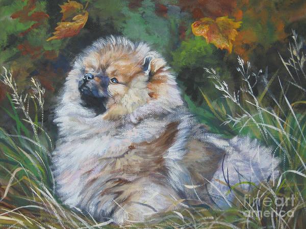 Pomeranian Painting - Pomeranian Puppy Autumn Leaves by Lee Ann Shepard