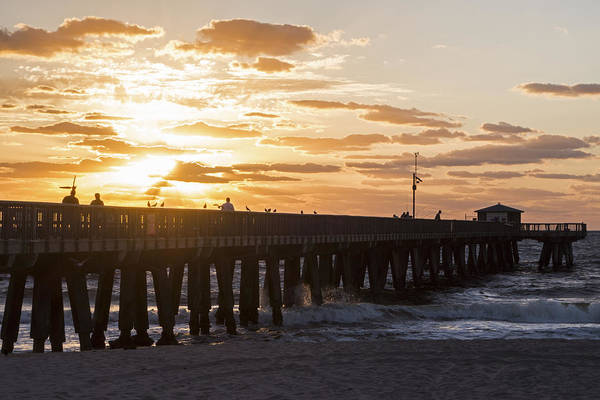 Photograph - Pompano Beach Fishing Pier At Sunrise Florida Sunrise 2 by Toby McGuire