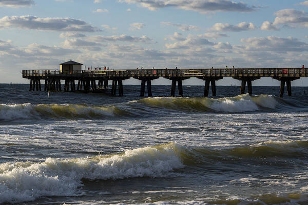 Photograph - Pompano Beach Fishing Pier At Sunrise Florida Sunrise Waves by Toby McGuire