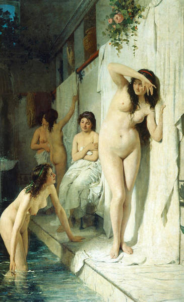 Marble Painting - Pompeian Bath by Giuseppe Barbaglia